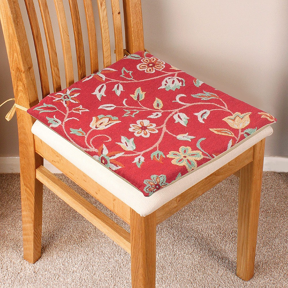 RED TAPESTRY CHAIR PADS