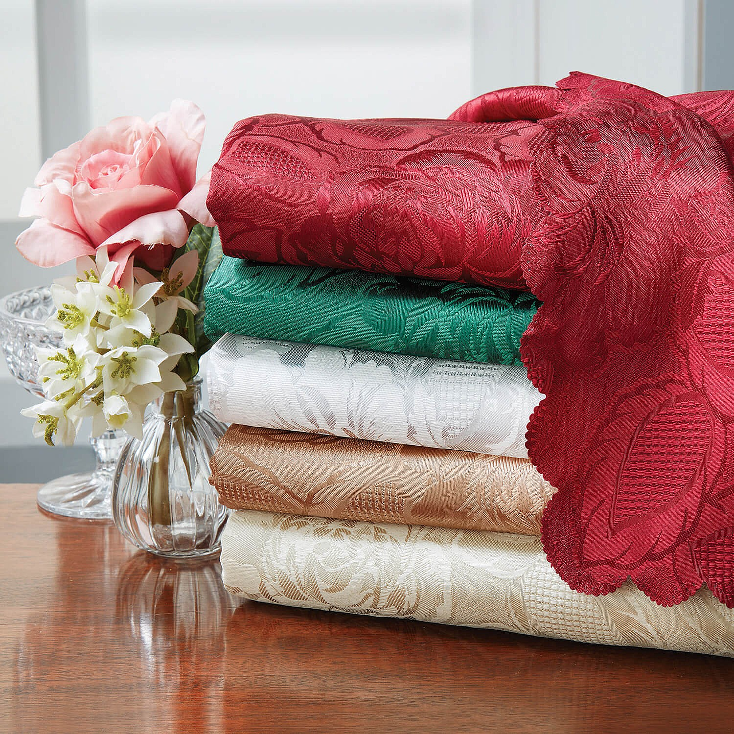 Damask Table Cloths Coffee 178cm Round by Coopers of Stortford