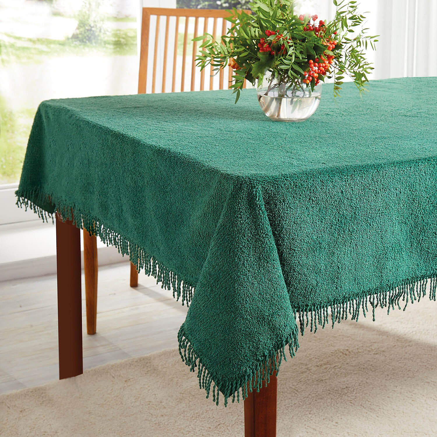 Chenille Tablecloths Burgundy Round Dia. 132Cm by Coopers of Stortford