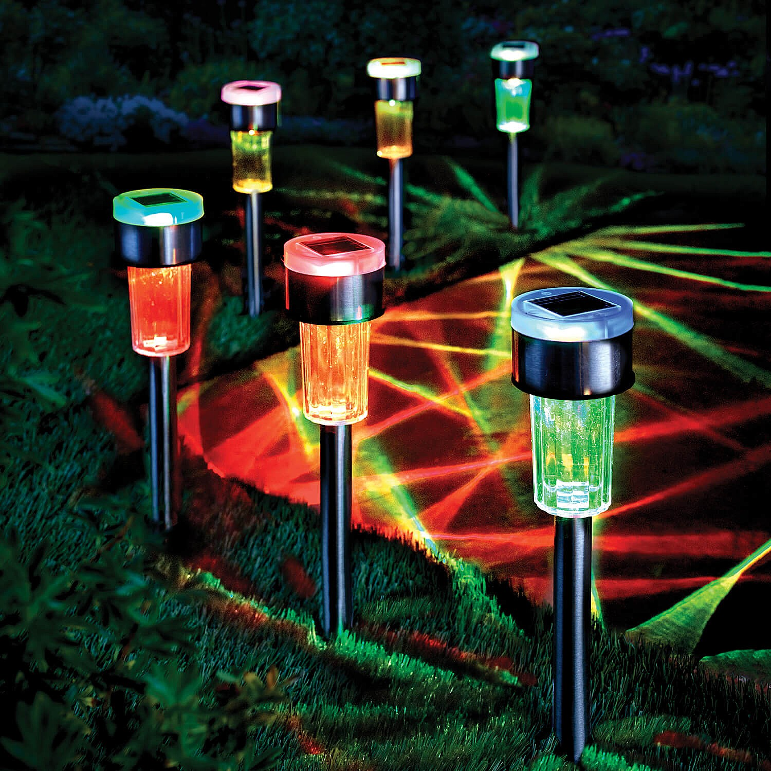 Set of 6 Colourchanging Solar Stake Lights Garden Coopers Of