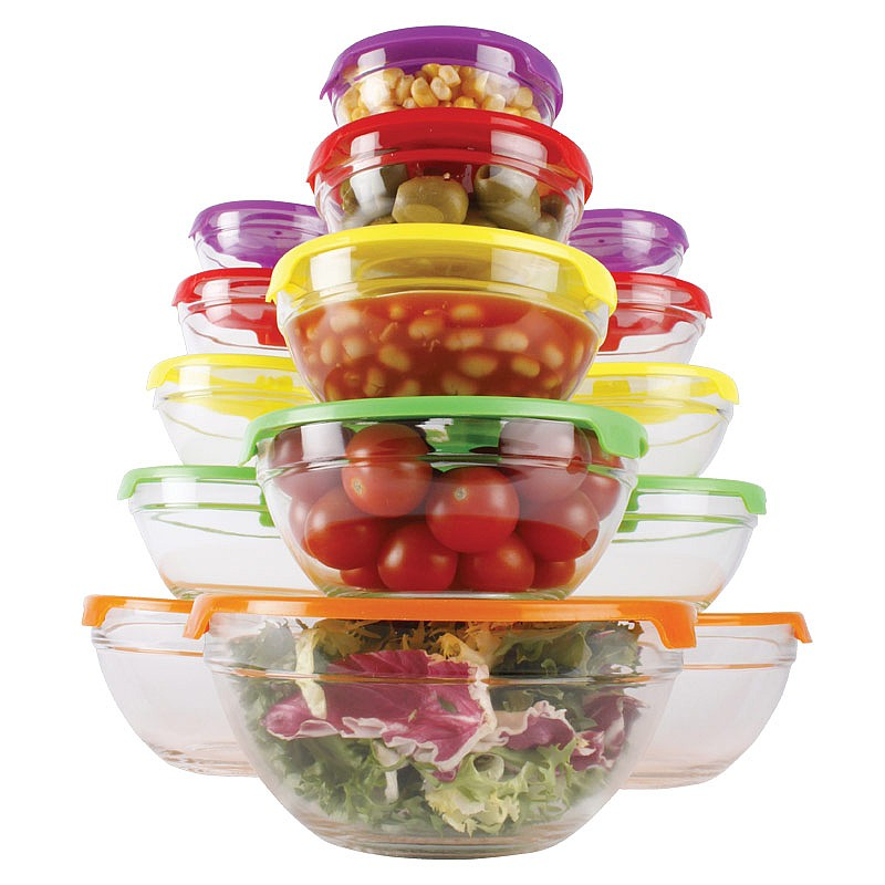 15Pc Glass Bowl Set + Lids