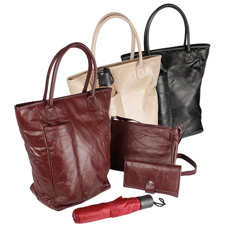 2Pc Black Hangbag Set W/Umbrella & Purse