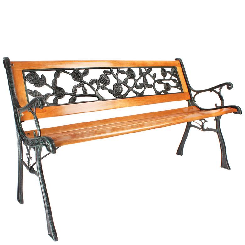 Verdigris and Wood Garden Bench