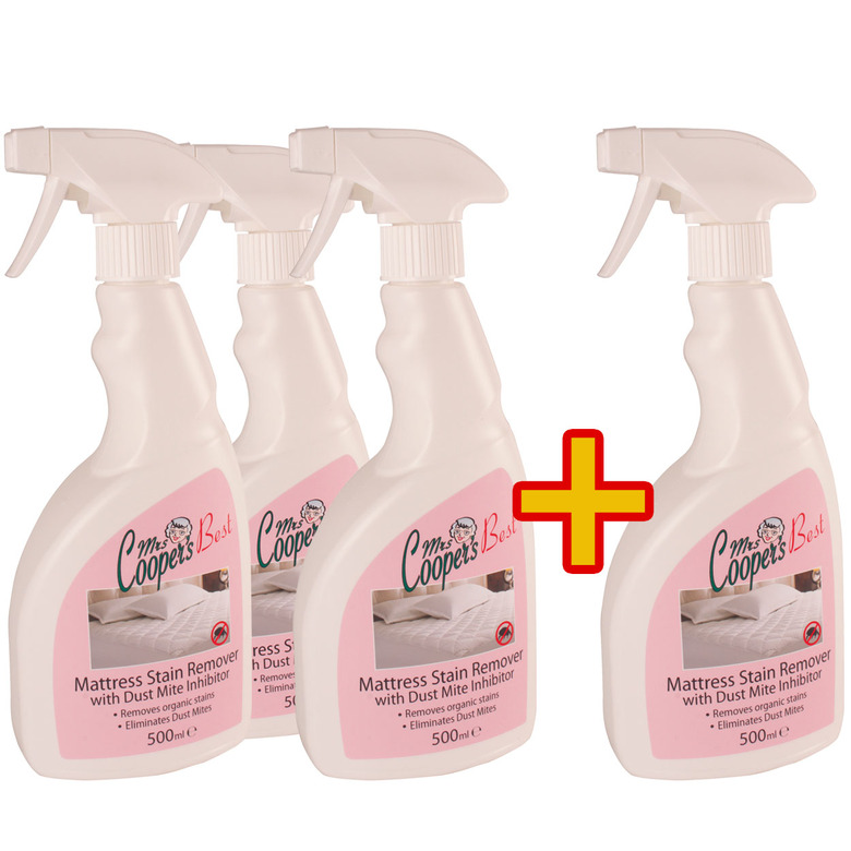 3x 500ml Mattress Stain Remover with Dust Mite Inhibitor Plus 1 Free