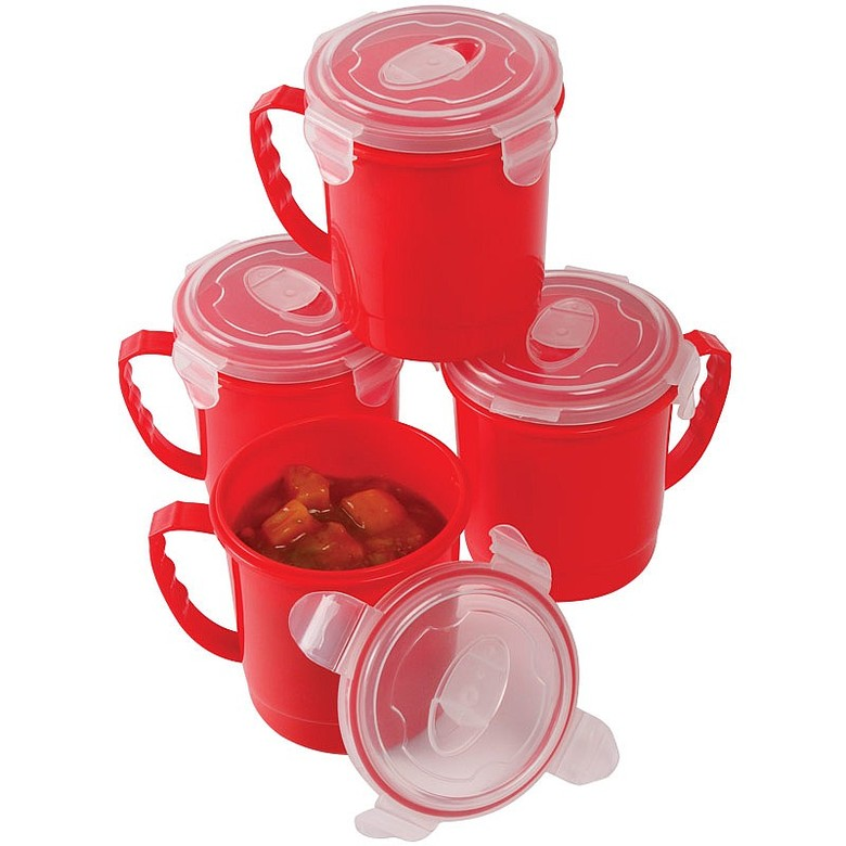 Pk 2 Microwave Soup Mugs Plus 2 Free