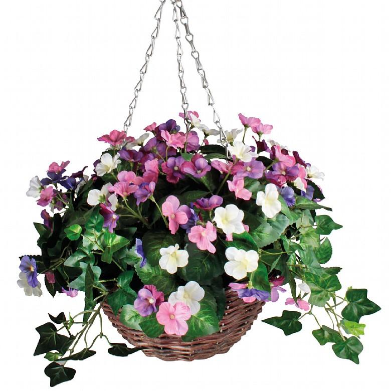 Artificial Pansy Hanging Basket