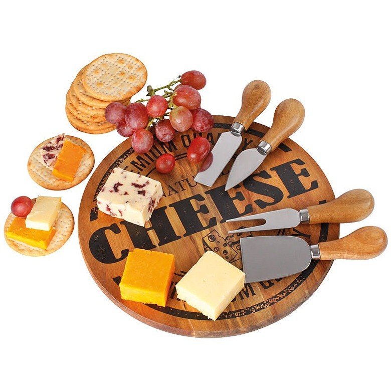 Cheese Board and 4 Knives Set
