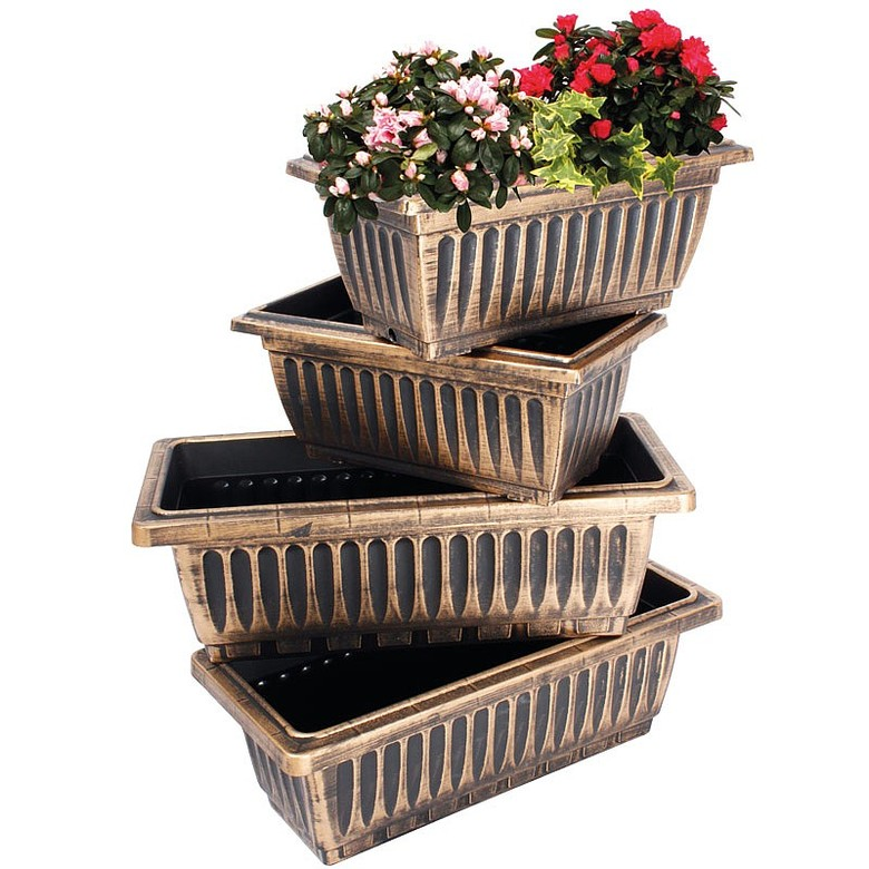 Set of 4 Bronze Trough Planters