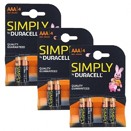 3 x Duracell AAA Batteries - Pack of 4