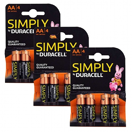 3 x Duracell AA Batteries - Pack of 4