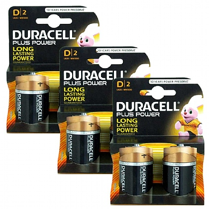 3 x Duracell D Batteries - Pack of 2