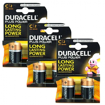 3 x Duracell C Batteries - Pack of 2