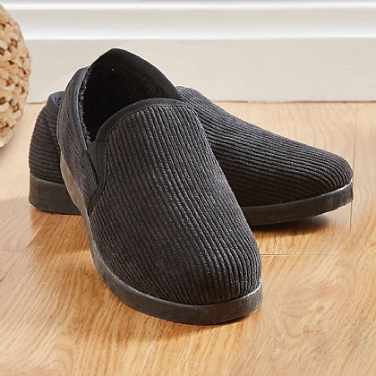 Men's Black Ribbed Thinsulate Slippers