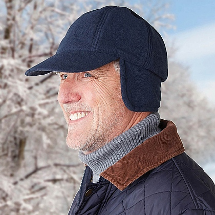 Navy Ear Warmer Fleece Cap