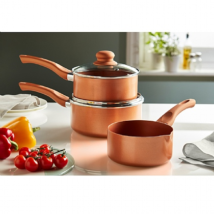 Set of 3 Copper King Saucepans