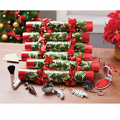 Set of 6 Luxury Holly Crackers