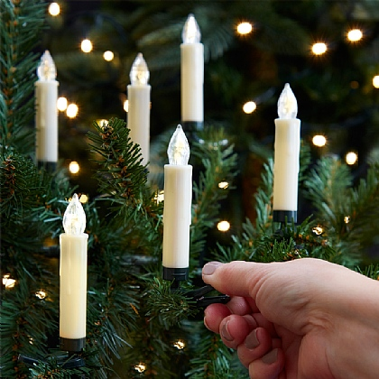 Set of 10 Clip-On Tree Candles