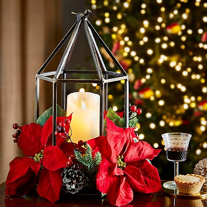 Metal Birdcage With Poinsettia & LED Candle