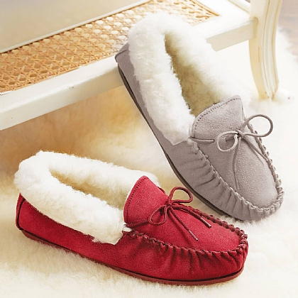 Ladies Wool Lined Suede Moccasins
