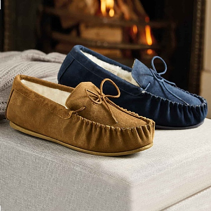 Men's Wool Lined Suede Moccasins - Buy 2 & Save £5