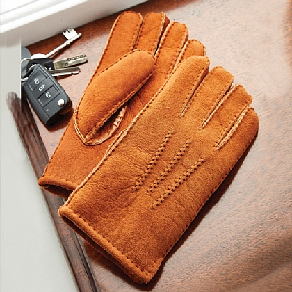 Men's Brown Sheepskin Gloves