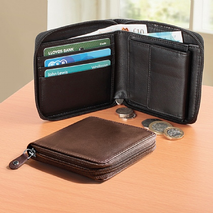 RFID Leather Zip Wallet