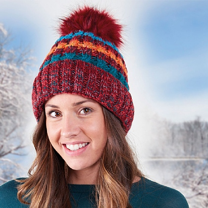 Unisex Striped Bobble Hat