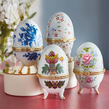 Set of 4 Porcelain Decorative Eggs