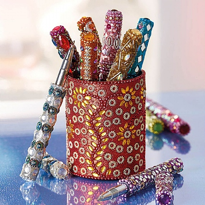 Set of 10 Beaded Pens in a Pot