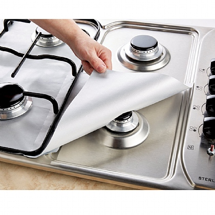 Pack of 8 Silver Protective Hob Liners