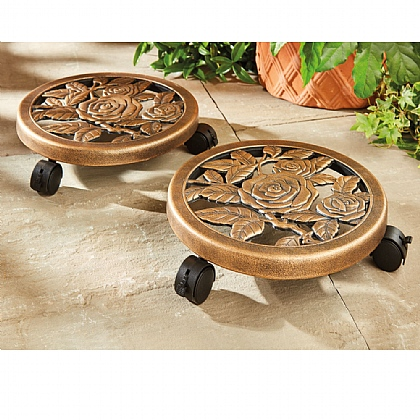 Pack of 2 Rolling Plant Caddies