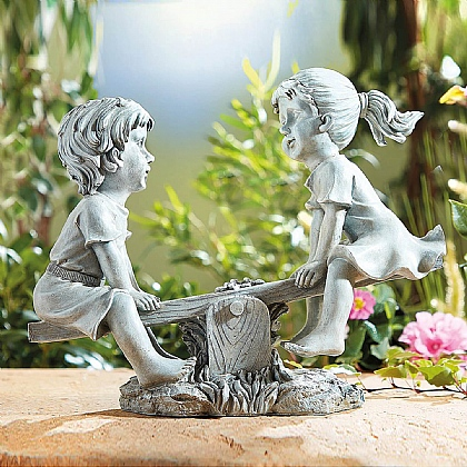 Boy & Girl See-Saw Statue - Buy Both & Save £5