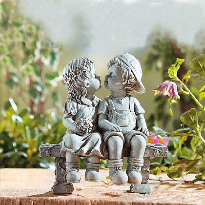 Boy & Girl Kissing Statue - Buy Both & Save £5
