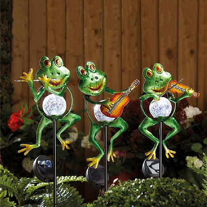 Set of 3 Solar Frog Stakes