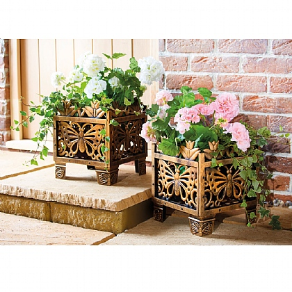 Set of 2 Bronze Butterfly Plant Holders