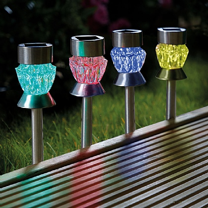 Set of 4 Crystal Effect Solar Lights