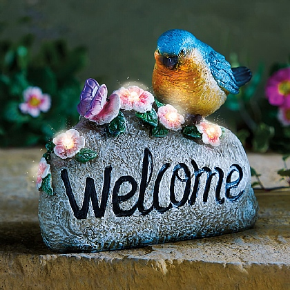 Solar Bird Welcome Stone