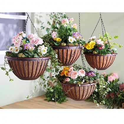 Set of 4 Brushed Bronze-Effect Hanging Baskets