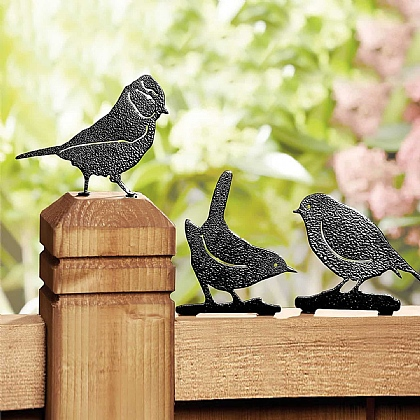 Set of 3 Bird Fence Toppers