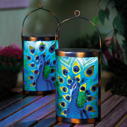 Set of 2 Solar Peacock Lanterns