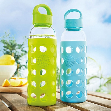 Silicone Grip Glass Water Bottle + 1 FREE