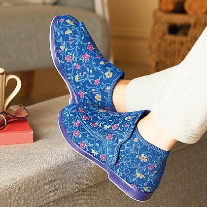 Women's Blue Floral Extra-Wide Washable Slippers
