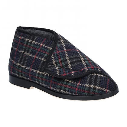 Men's Check Extra-Wide Washable Slippers