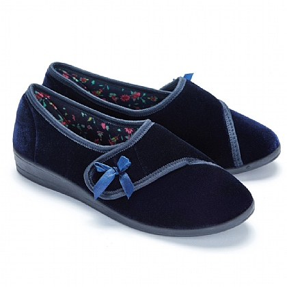 Women's Navy Touch Fasten Slippers - Buy 2 Pairs & Save £5
