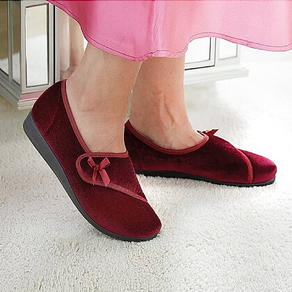 Women's Wine Touch Fasten Slippers - Buy 2 Pairs & Save £5