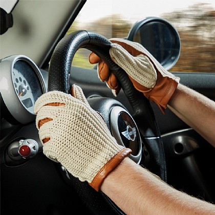 Crochet Leather Driving Gloves