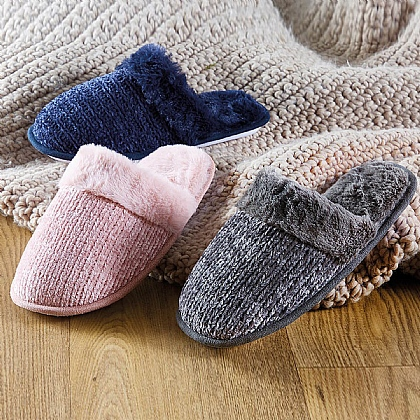 Chenille Mule Slippers - Buy 2 Pairs & Get 1 Free