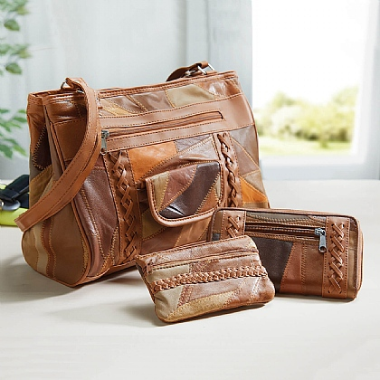 3-Piece Patchwork Leather Bag Set