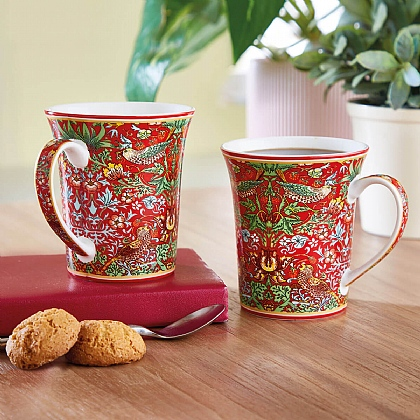Set of 2 Red William Morris Mugs - Buy 2 & Save £5