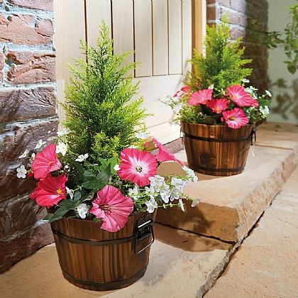 Artificial Fir and Petunia in Barrel Planter - Buy 2 & Save £10